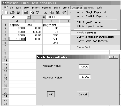 Attaching an interval to a numeric cell